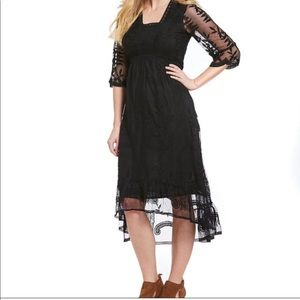 REBA Camilla Embroidered High-Low Dress